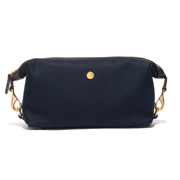 Travel Washbag - Navy Canvas & Dark Brown Leather