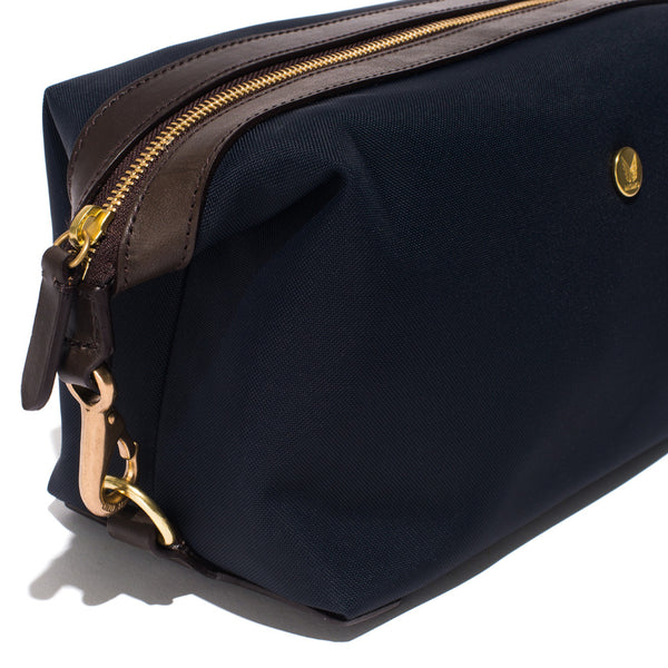 Mismo - Travel Washbag - Navy Leather & Dark Brown Leather - MAN of the WORLD Online Destination for Men's Lifestyle - 6