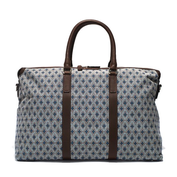 Mismo - Weekend Holdall - Woven Patterned Canvas & Dark Brown Leather - MAN of the WORLD Online Destination for Men's Lifestyle - 2