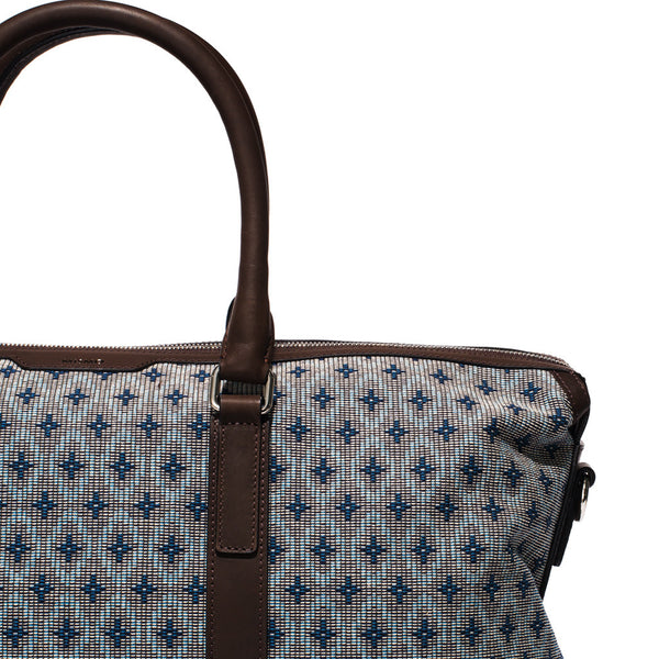 Mismo - Weekend Holdall - Woven Patterned Canvas & Dark Brown Leather - MAN of the WORLD Online Destination for Men's Lifestyle - 7