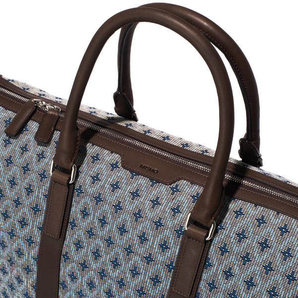 Mismo - Weekend Holdall - Woven Patterned Canvas & Dark Brown Leather - MAN of the WORLD Online Destination for Men's Lifestyle - 5