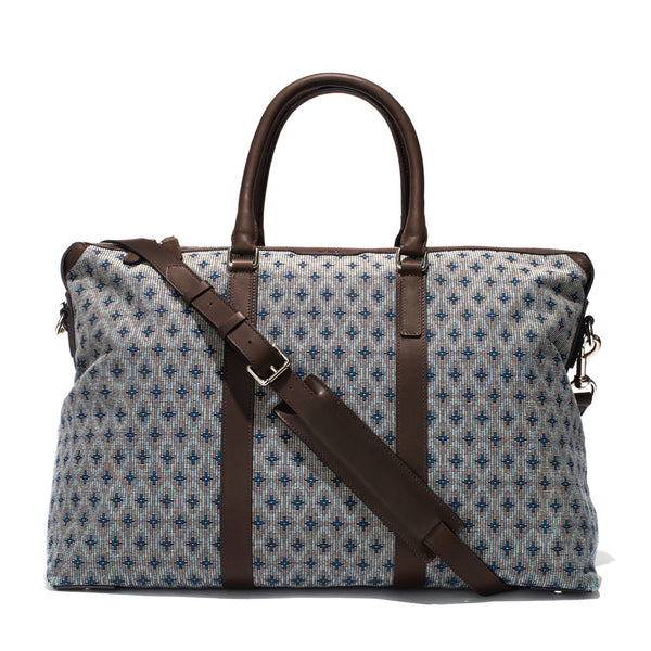 Mismo - Weekend Holdall - Woven Patterned Canvas & Dark Brown Leather - MAN of the WORLD Online Destination for Men's Lifestyle - 1