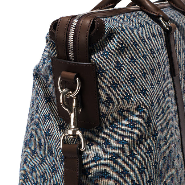Mismo - Weekend Holdall - Woven Patterned Canvas & Dark Brown Leather - MAN of the WORLD Online Destination for Men's Lifestyle - 8