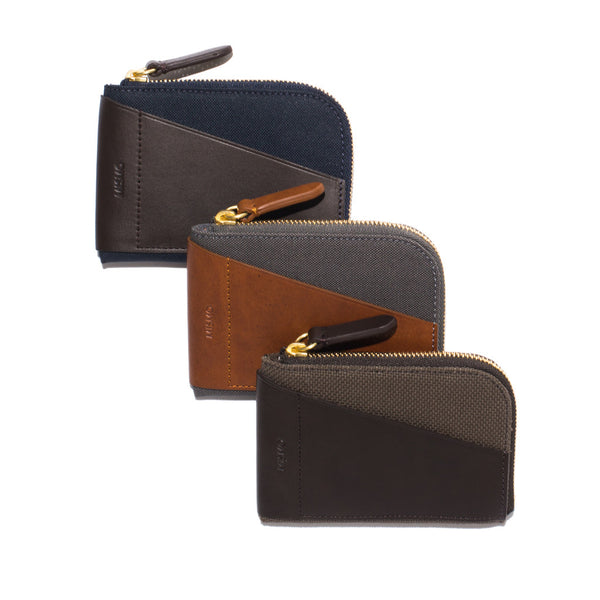 Zipper 6 Card Case - Nylon & Leather