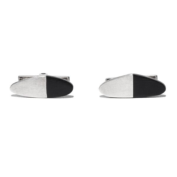 Cooke - Black Sterling Silver Cufflinks - MAN of the WORLD Online Destination for Men's Lifestyle - 3