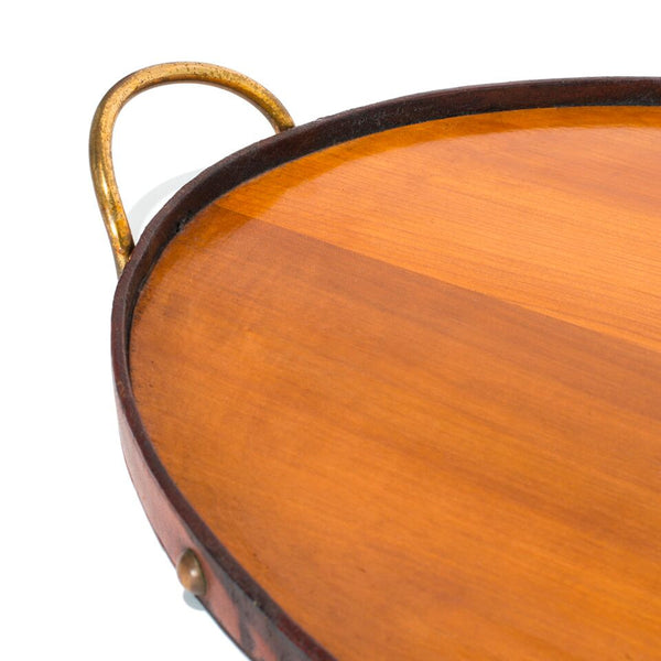 VINTAGE - Oval Wooden Tray with Brass Handles - MAN of the WORLD Online Destination for Men's Lifestyle - 3