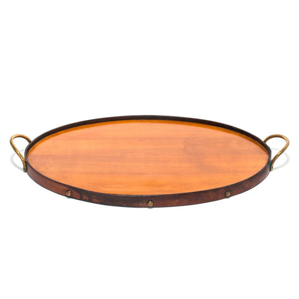 VINTAGE - Oval Wooden Tray with Brass Handles - MAN of the WORLD Online Destination for Men's Lifestyle - 1