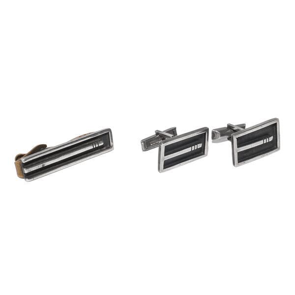 VINTAGE - Sterling Silver Cufflinks and Tie Bar Set - MAN of the WORLD Online Destination for Men's Lifestyle - 1