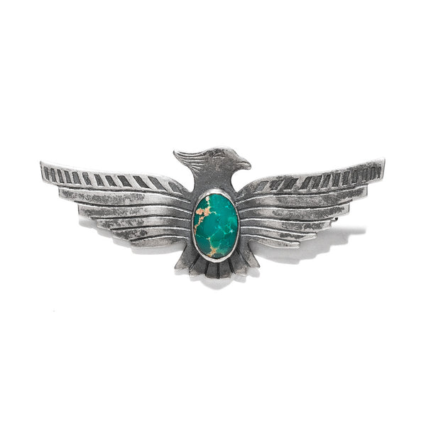 Sterling Silver & Turquoise Native American Eagle Pin