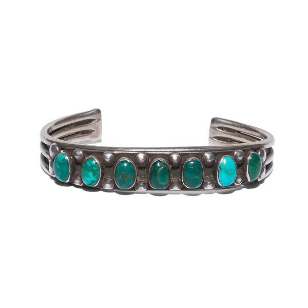 Sterling Silver Turquoise Seven Stone Cuff