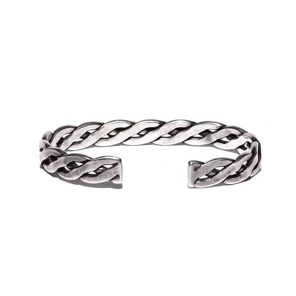 VINTAGE - Braided Sterling Silver Three Stone Cuff - MAN of the WORLD Online Destination for Men's Lifestyle - 3