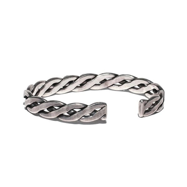 VINTAGE - Braided Sterling Silver Three Stone Cuff - MAN of the WORLD Online Destination for Men's Lifestyle - 2