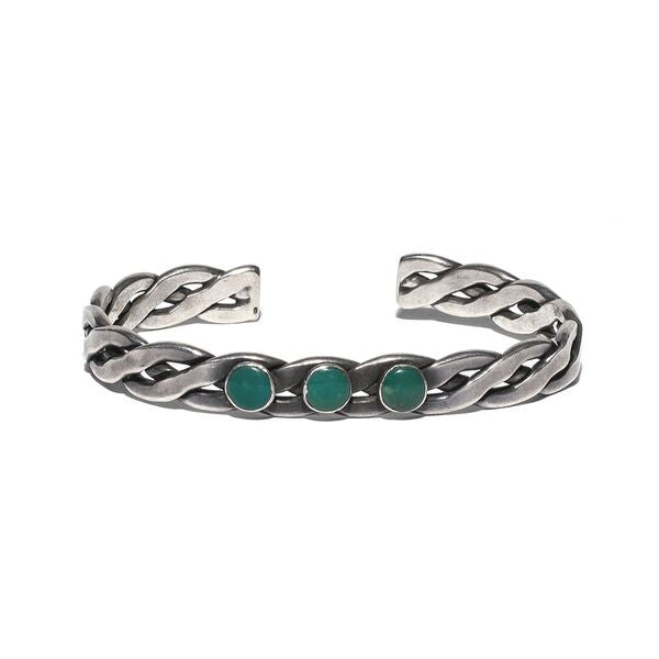 Braided Sterling Silver Three Stone Cuff