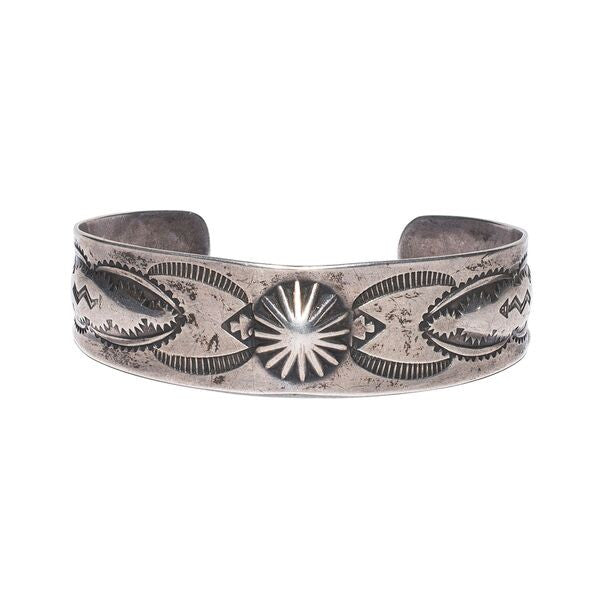 Sterling Silver Center Button Cuff