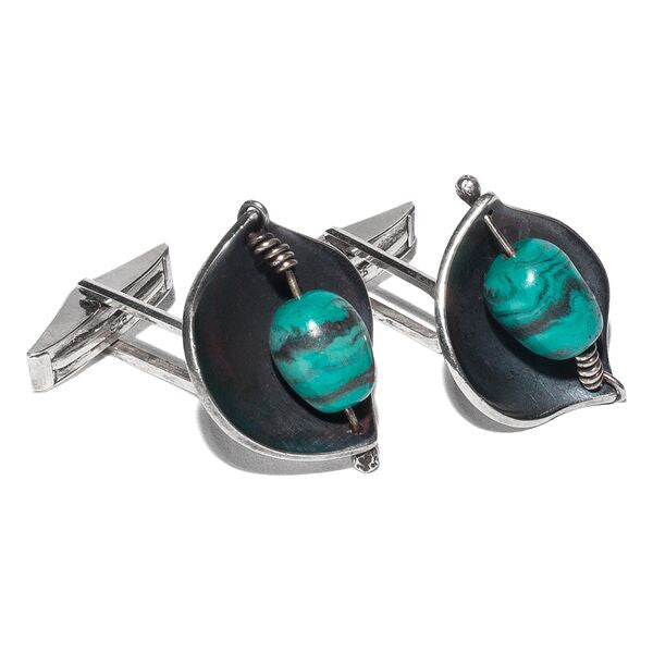 Lore - Sterling Silver Turquoise Cufflinks - MAN of the WORLD Online Destination for Men's Lifestyle - 1