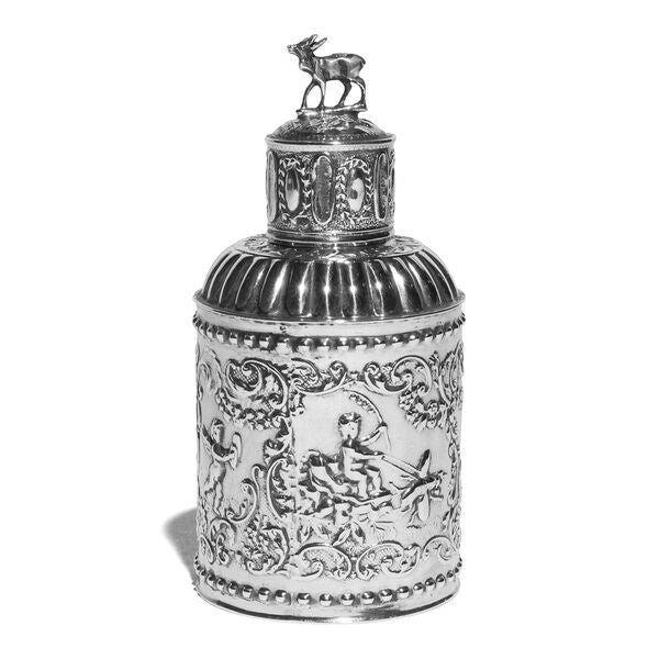 VINTAGE - Antique Dutch Silver Tea Caddy with Fanciful Ornament - MAN of the WORLD Online Destination for Men's Lifestyle - 1