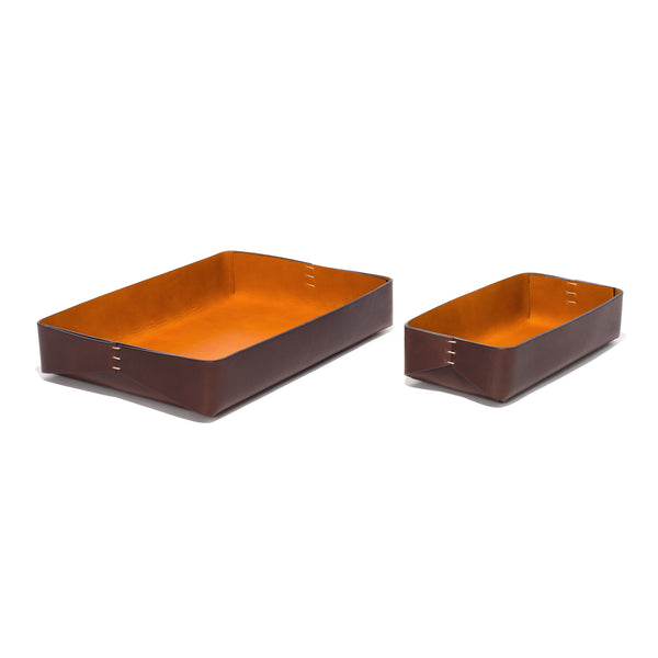 Leather Rectangular Trays - Dark Brown