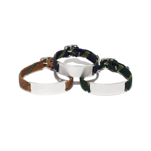 Nylon & Flyline ID Bracelet with Buckle Closure - Silver