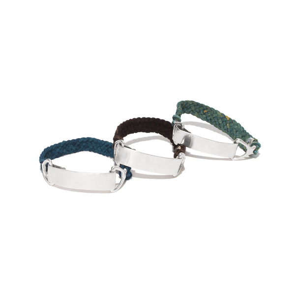 Stature Leather ID Bracelet - Silver