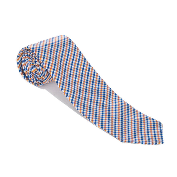 Woven Silk Jacquard Tie - Blue & Orange
