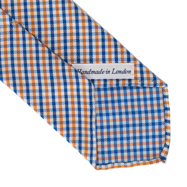 Drake's - Woven Silk Jacquard Tie - Blue & Orange - MAN of the WORLD Online Destination for Men's Lifestyle - 3