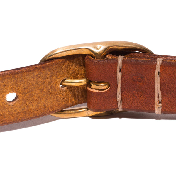 Small Oval Buckle Belt - Dark Tan