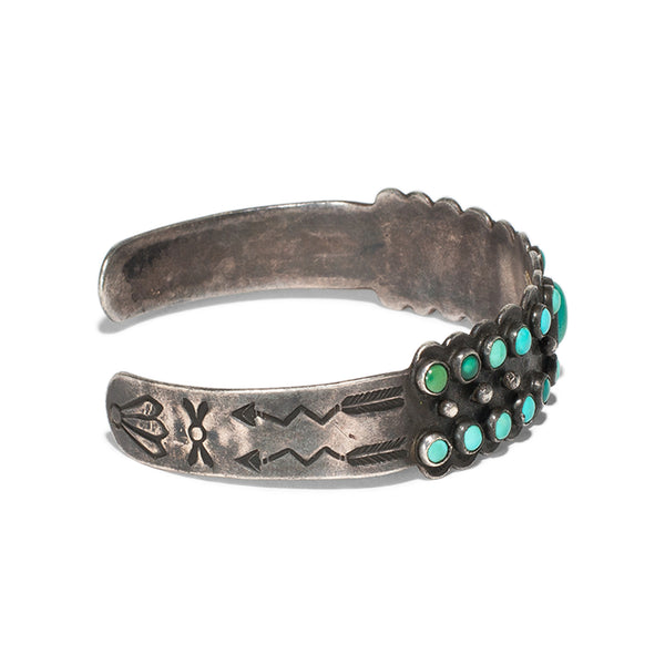 Small Stones Turquoise Silver Cuff