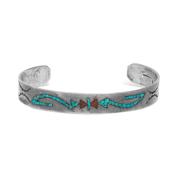 Turquoise and Coral Inlay Bracelet
