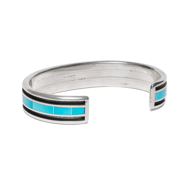 MAN OF THE WORLD - Turquoise Inlay with Side Channel Cuff - MAN of the WORLD Online Destination for Men's Lifestyle - 2
