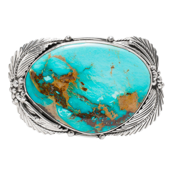 Feather Framed Turquoise Belt Buckle