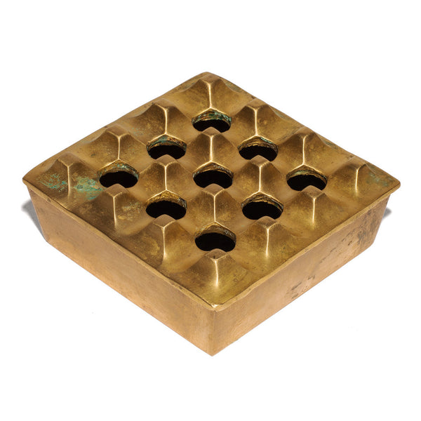 VINTAGE - Medium Brass Geometric Ashtray - MAN of the WORLD Online Destination for Men's Lifestyle - 1