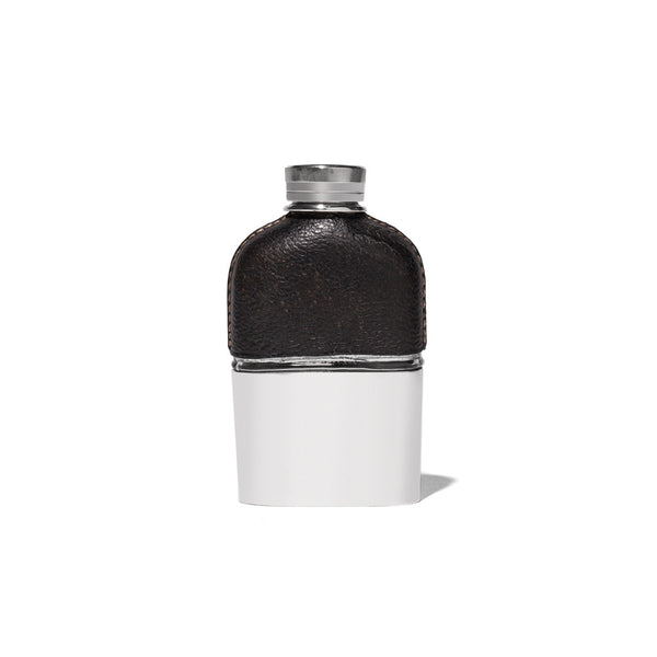 VINTAGE - Small Black Leather and Silver Flask - MAN of the WORLD Online Destination for Men's Lifestyle - 1