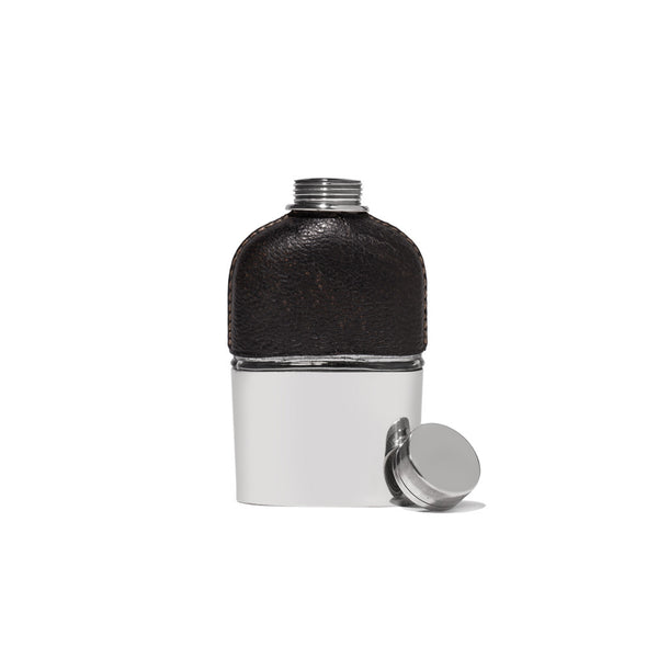 VINTAGE - Small Black Leather and Silver Flask - MAN of the WORLD Online Destination for Men's Lifestyle - 2