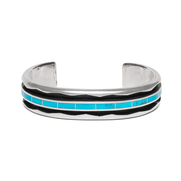 Turquoise Inlay and Zigzag Cuff