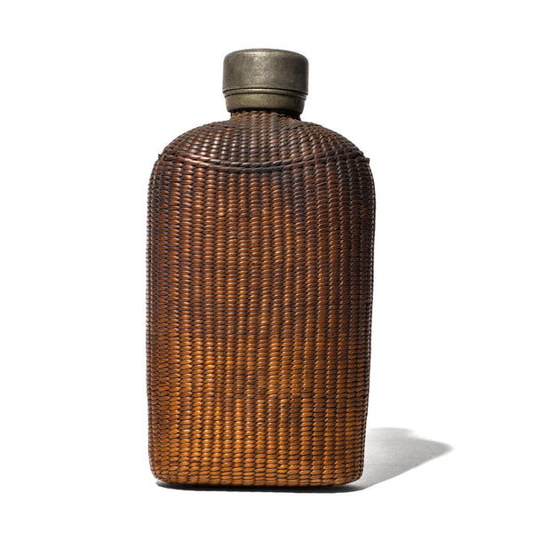 Wicker Wrapped Flask with Pewter Top