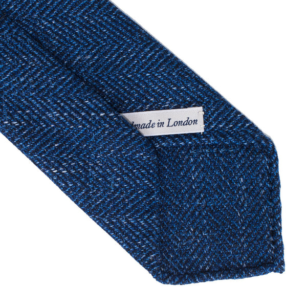 Drake's - Wool Silk Linen Blend Woven Tie - Blue Herringbone - MAN of the WORLD Online Destination for Men's Lifestyle - 3
