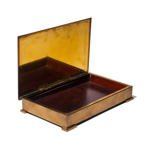 Wood Lined Bronze Box
