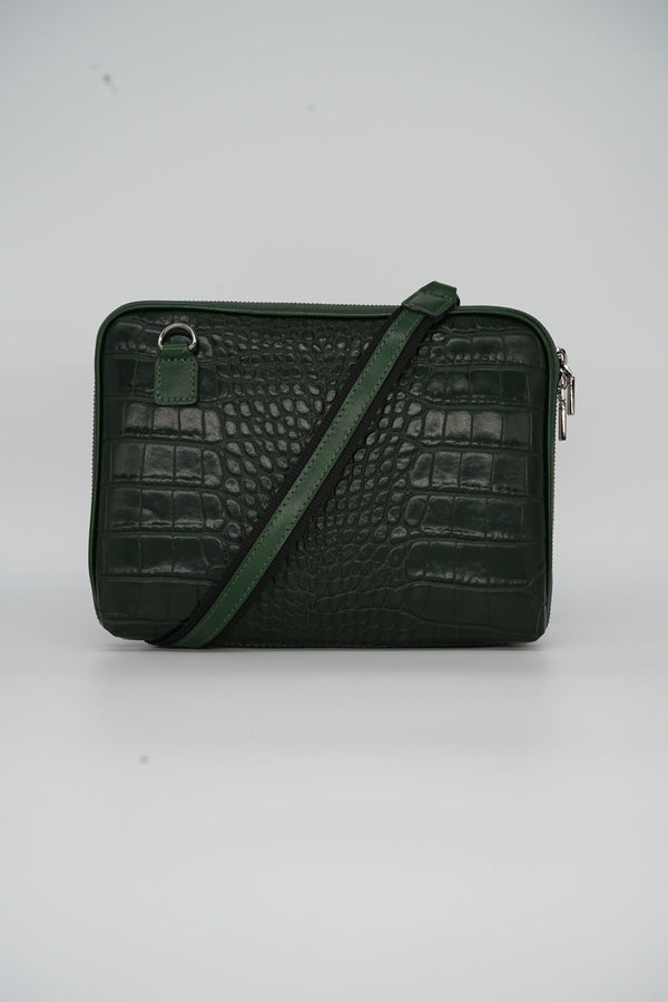Messenger-Bag CROCO S - grün
