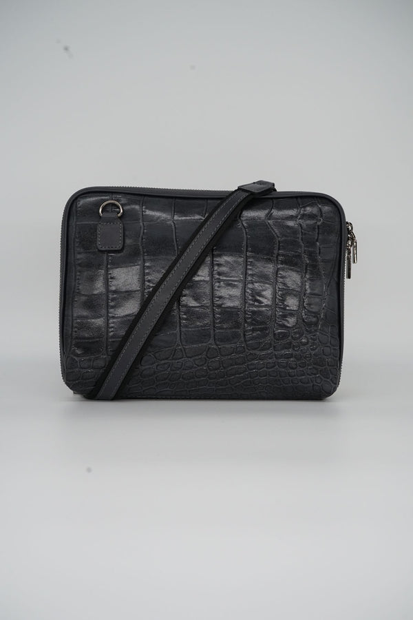 Messenger-Bag CROCO S - grau