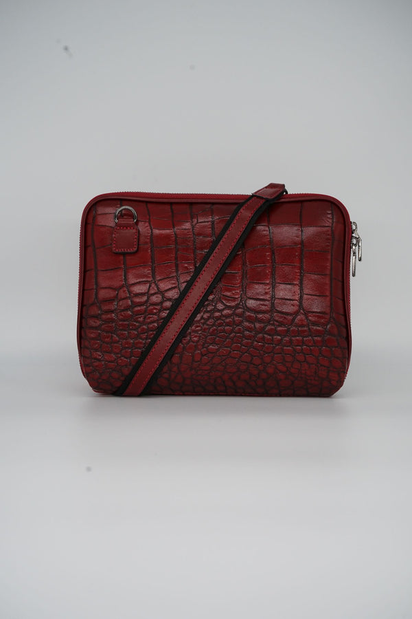 Messenger-Bag CROCO S - rot