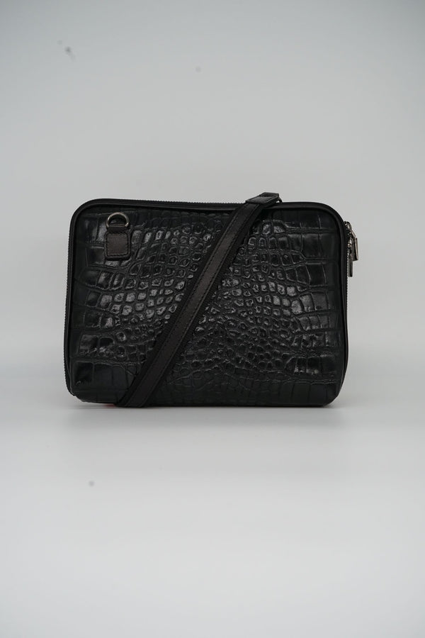Messenger-Bag CROCO S - schwarz