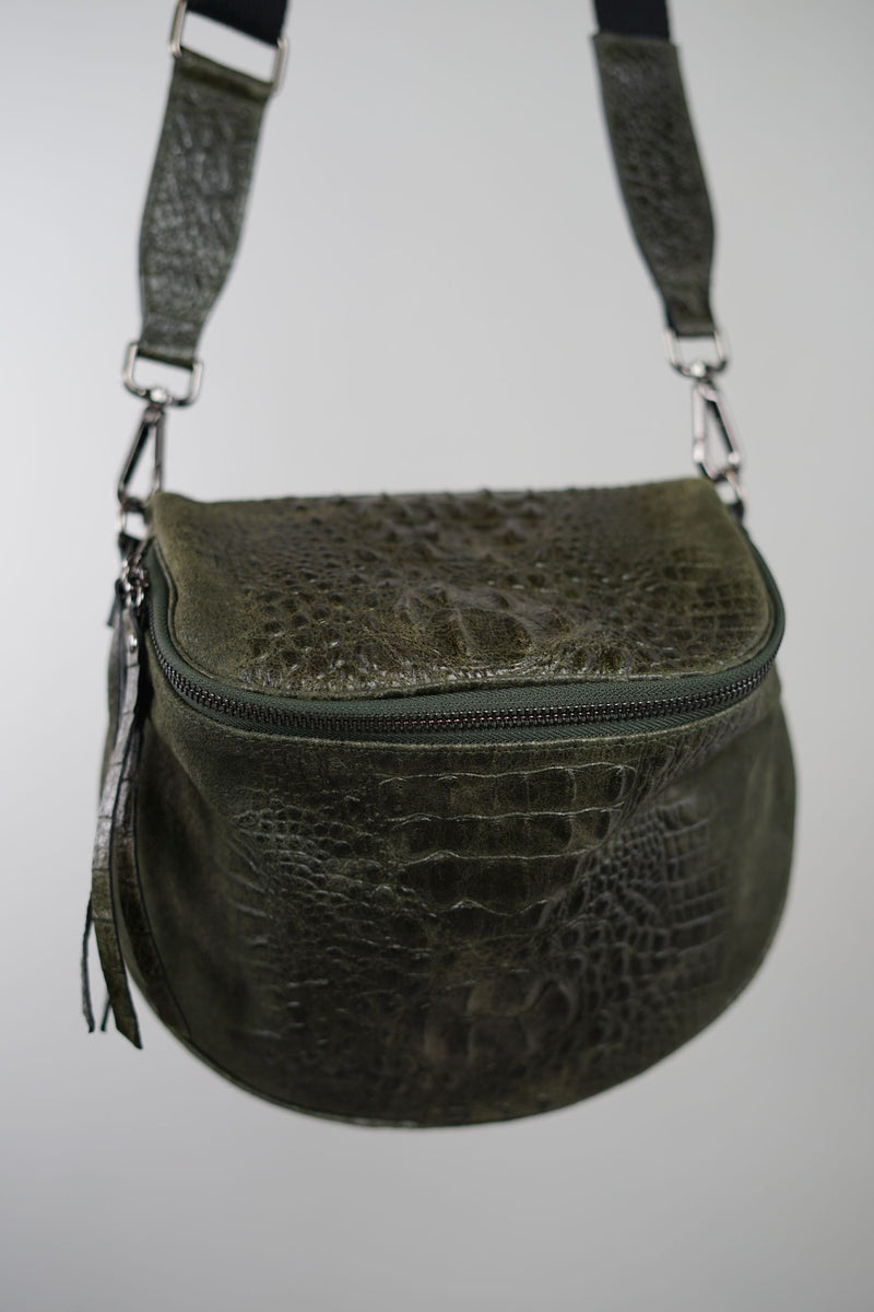 Crossbody-Bag KENNY Reptil-Optik - dunkelgrün