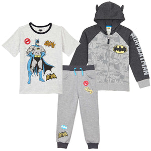 Batman Boys' 3-Piece Fleece Set - Hoodie, Tee & Jogger Pant - Dark Gray - Size 2T-6 - FPI Ventures