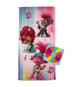 Trolls World Tour 2-Piece Bath Towel and Wash Cloth Set, 100% Soft Terry Cotton - FPI Ventures