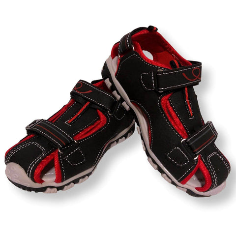 Boys Sandals Velcro Shoes Toddler and Little Kids Closed Toe Sandal, Black Red and Brown Orange, Size 9-13 - FPI Ventures