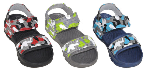 Boys' Camo Sandal Shoe - Colors Red/Grey, Green/Grey, and Blue/Grey - Sizes 11.5-4 (Little/Big Boys) - FPI Ventures