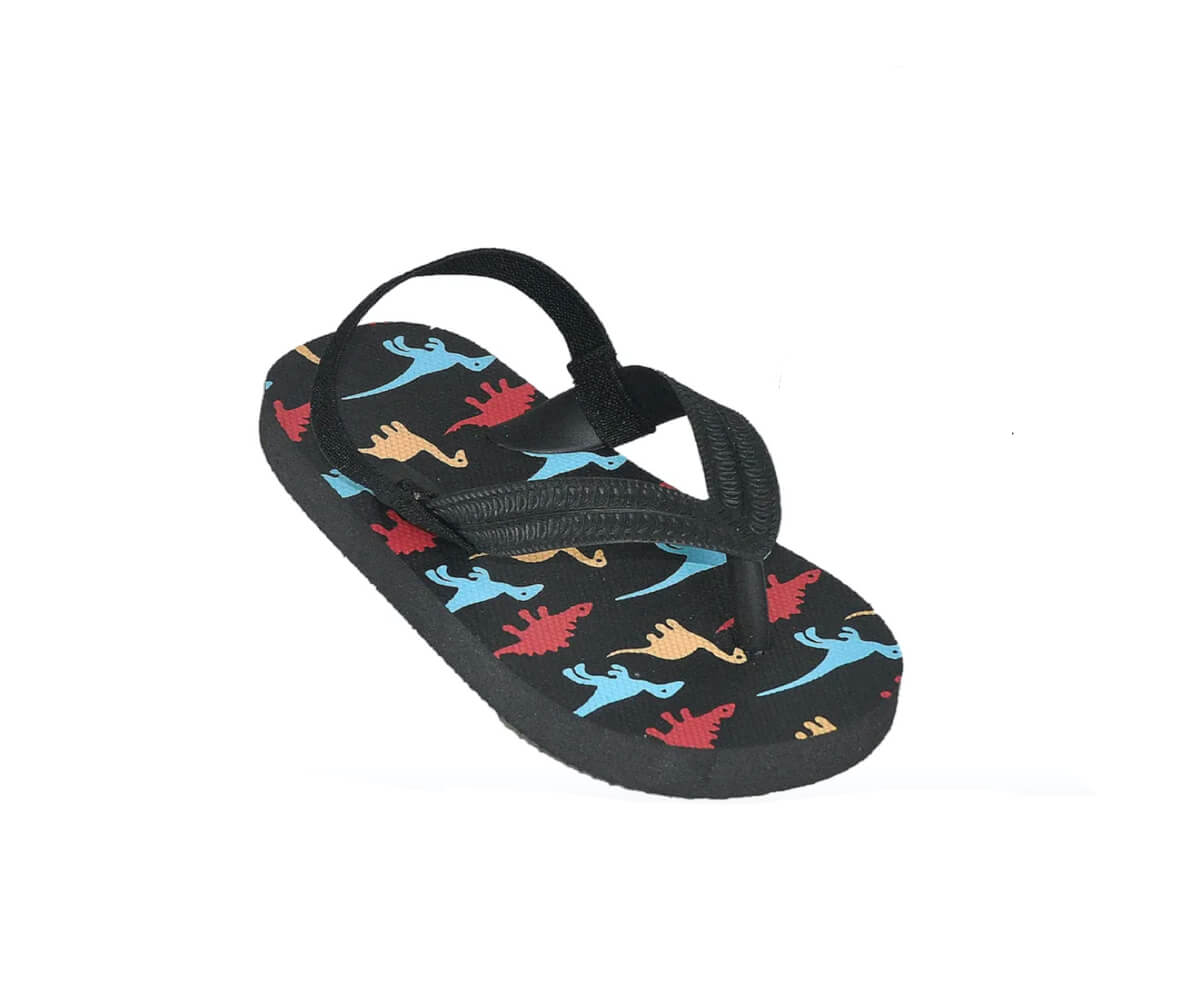 Boys' Dinosaur Thong Sandal With Backstrap - Toddler Sizes 5, 6, 7, 8, 9 and 10 - Black, Grey, Navy - FPI Ventures