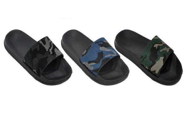 Camouflage Slides Boys' Sandals - Camo Black, Camo Blue, and Camo Green - Sizes 11.5-4 (Little/Big Boys) - FPI Ventures