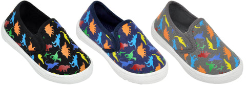 Boys' Dinosaur No Tie Slip On Shoe - Toddler Sizes 5, 6, 7, 8, 9 and 10 - FPI Ventures