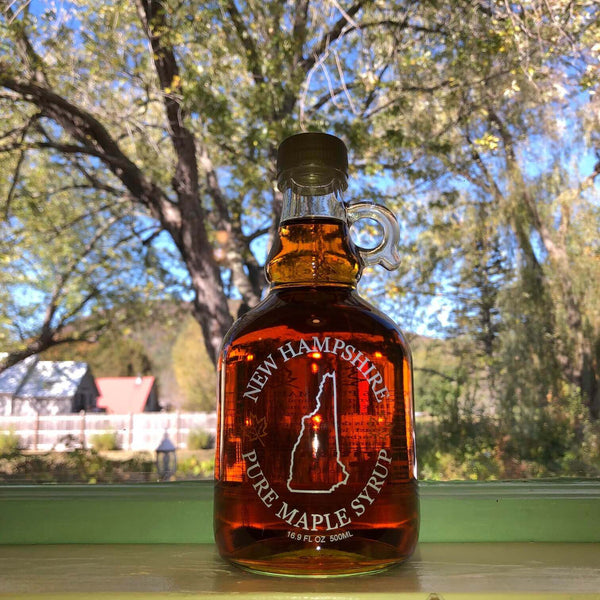 Great Tasting New Hampshire Maple Syrup – Produced by Family-Owned, Multi-Generational Fuller's Sugarhouse – Decorative Gallone Glass Bottle – Great Gift - Proudly Made in the USA - FPI Ventures
